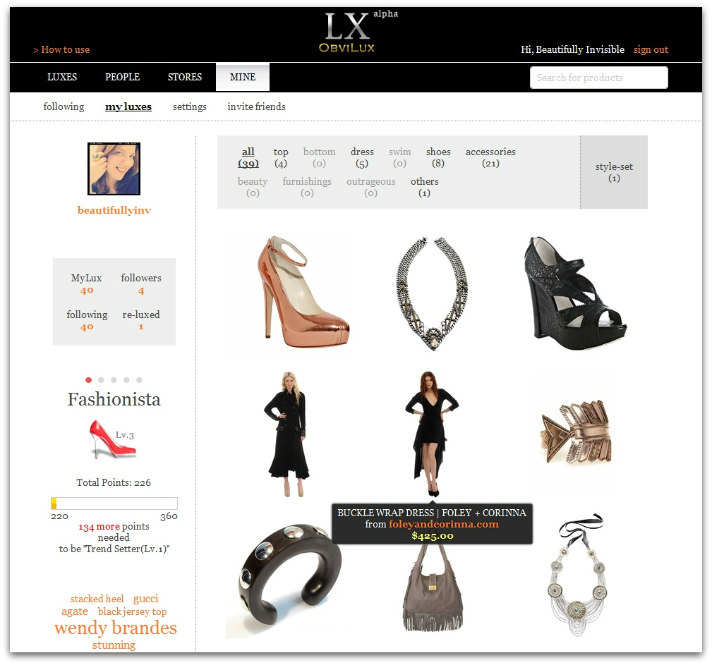 shopping fashion  ObviLux: A Social Shopping Community Done Right
