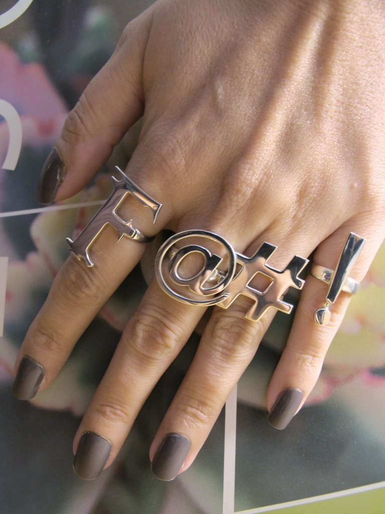 plagiarism and copyright infringement jewelry  Wendy Brandes Swear Rings vs. Topshop Punctuation Rings